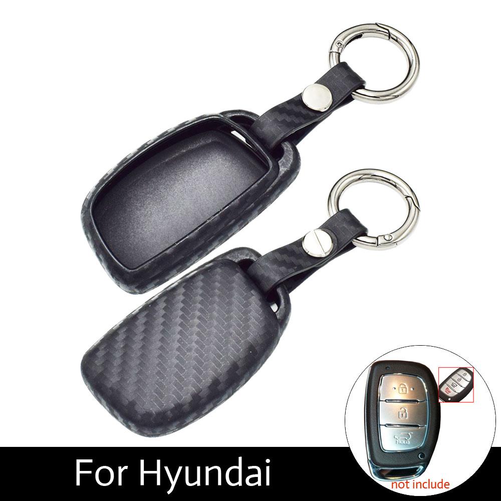 Carbon Fiber Pattern Silicone Car Key Case Keychain Cover For Hyundai Elantra Tucson Mistra Verna Sonata IX25 IX35 Smart Keys 4pcs pu for hyundai ix35 ix25 mistra elantra car door kicking pad