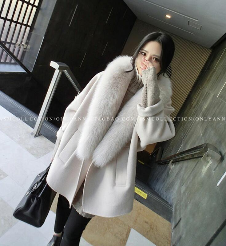 Women Winter Wool Coats Fur Collar Plus Size Grey Warm Loose Woolen Coat Fashion Thicken Long Jackets casaco feminino