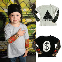 Boy Clothes Cotton T Shirt Long Sleeve Children Tee Shirts Novelty Tattoo Sleeve Baby Boys Tops
