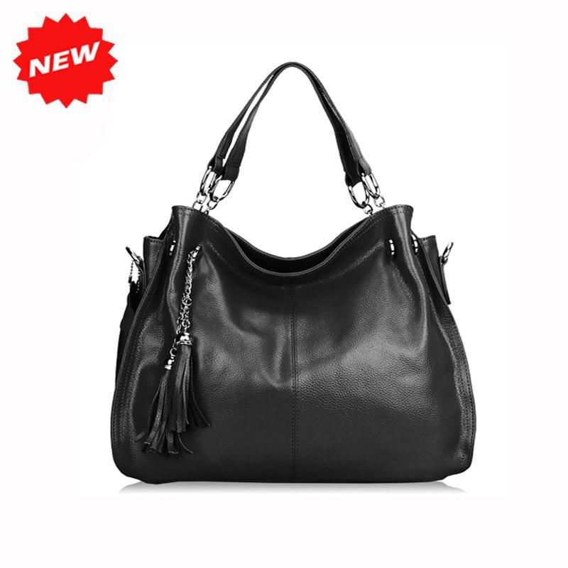 ФОТО Factory Direct Price Hobos Big Bag Ladie's Genuine Leather Handbags Practical Fashion Women Tote Shoulder Messenger Bags,Q0217