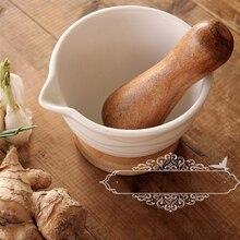 Wood Salt And Pepper Grinder Mashed grinding Ceramic Pesto Jar Garlic Press Crushed Cans Medicine Mortar Pestle JJ414
