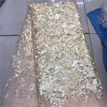 Latest Style Beaded Lace Fabric 2018 Fashion African Net Lace Fabric Tulle African French Lace Fabric High Quality pink