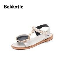 Bakkotie 2017 New Arrival Fashion Children White Shoe Summer Baby Girl Sandals Kid Brand Lens Breathable Soft Black Bead Toddler