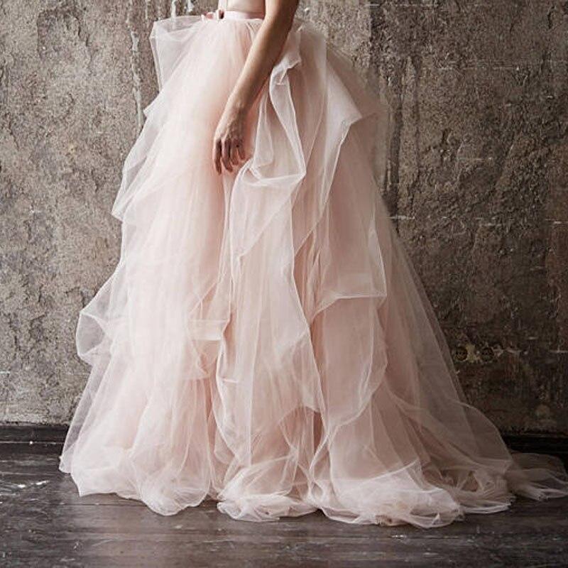 Rose poudré très luxuriant volants Tulle robes de bal jolie jupe en Tulle pour la photographie de mariée femmes Tulle jupes avec ceinture de ruban-in Jupes from Mode Femme et Accessoires    1