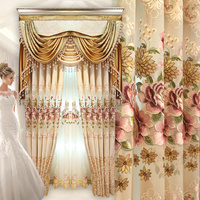 Custom curtains high class embroidered European living room bedroom curtain cloth sheer blackout curtain tulles