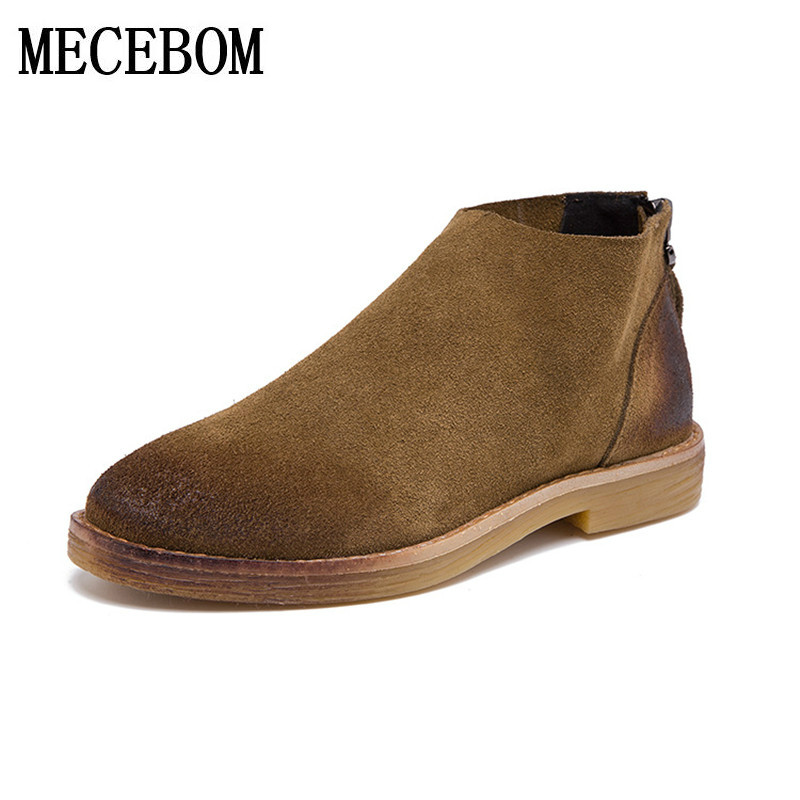 2017 Arrival Autumn Spring Chelsea Boots Women shoes Ankle Boots Pigskin Martin Boots Retro Vintage
