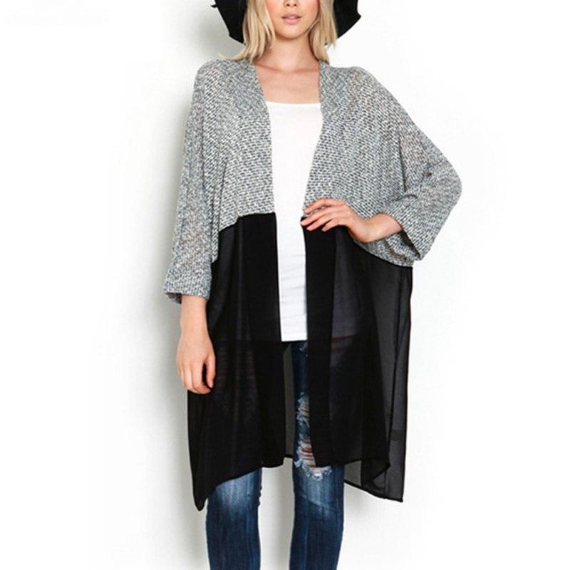 Las Mujeres del otoño Moda Tops Kimono Cardigan de Punto Blusa de La Gasa Camisa