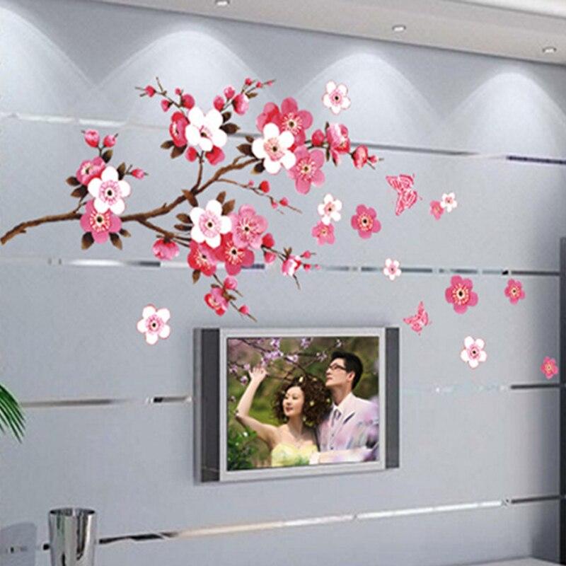 יפה פרח קיר מדבקות פריחת דובדבן DIY בית תפאורה דובדבן עץ טפטים טלוויזיה ספת סלון חדר שינה נשלף