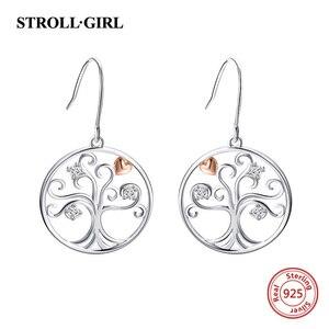 Image 2 - Strollgirl 7 Pairs/set Weekly Earrings 925 Sterling Silver Tree Music Symbol Owl Bat Animal Drop Earrings for Women Jewelry