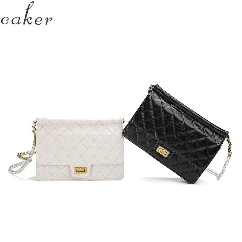 Caker marque 2019 femmes PU cuir chaîne sacs à bandoulière mode noir blanc rouge perlé sacs à bandoulière