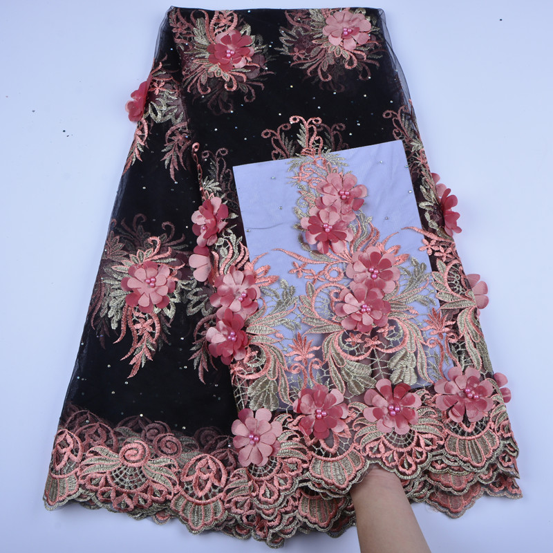 2018 High Quality African Lace Fabrics French Net Embroidery Peach 3 D Flowers Tulle Lace Fabric