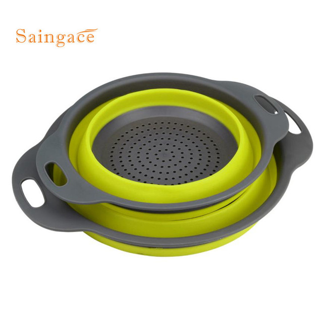 2pcs New kitchen tools Collapsible Silicone Colander Mesh Colander Fruit Vegetable Strainer home kitchen accessories tool #GH20