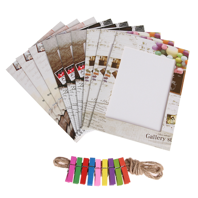 9pcs 6 inch Art Paper Photo Frame + 9 Clips + 1 Rope Creative ...
