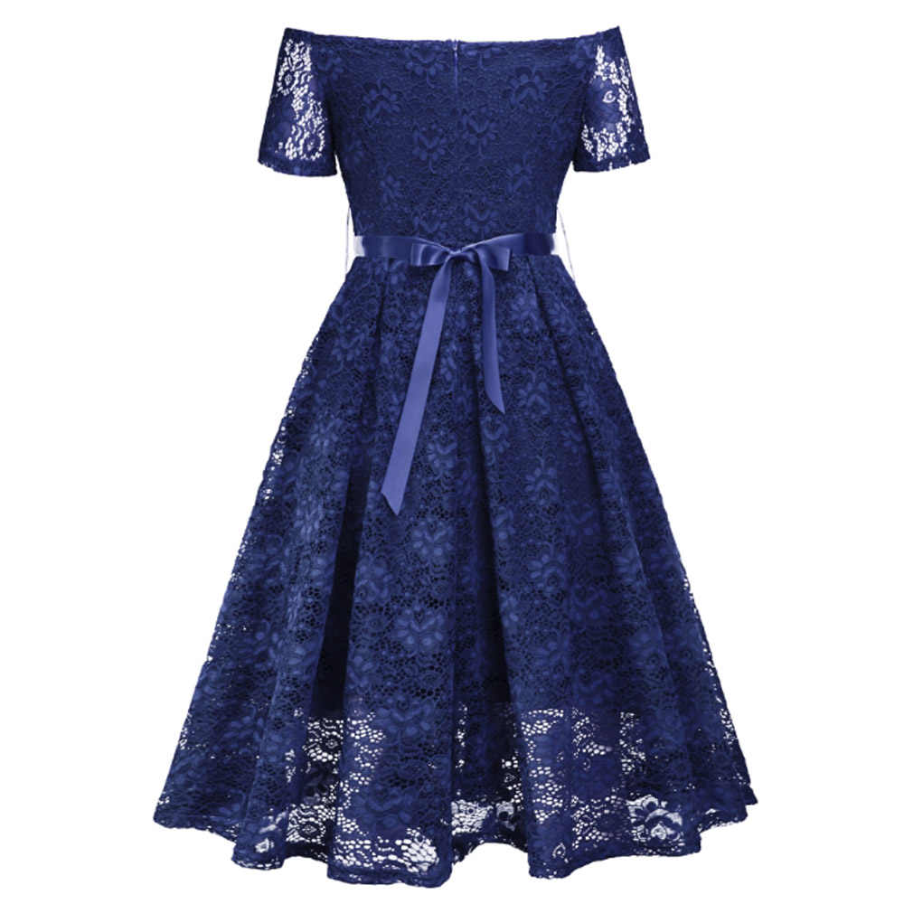 Women Dress 2019 Evening Party Retro Vintage Black Blue Red Hollow Out Floral Lace Dress Bow Belt Short Sleeve Summer Work Dress