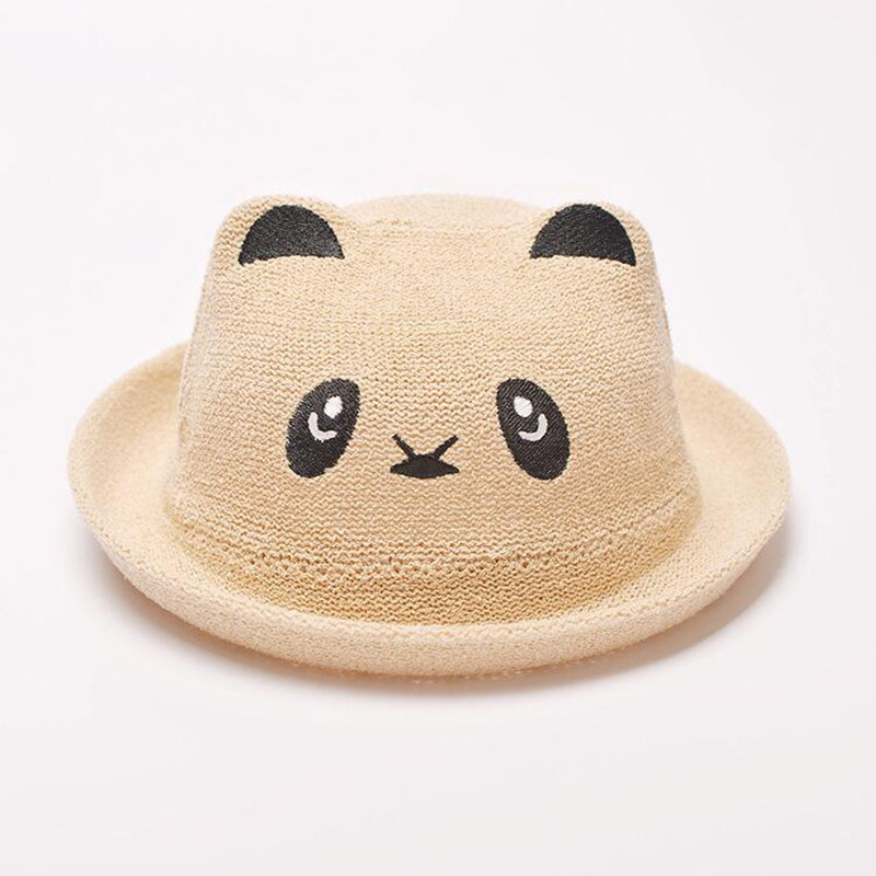 2016 2-8T Baby Girls Fashion Straw Cartoon Panda Hat Children Boys Fitted Spring Summer Lovely Cute Bucket Hats Decoration