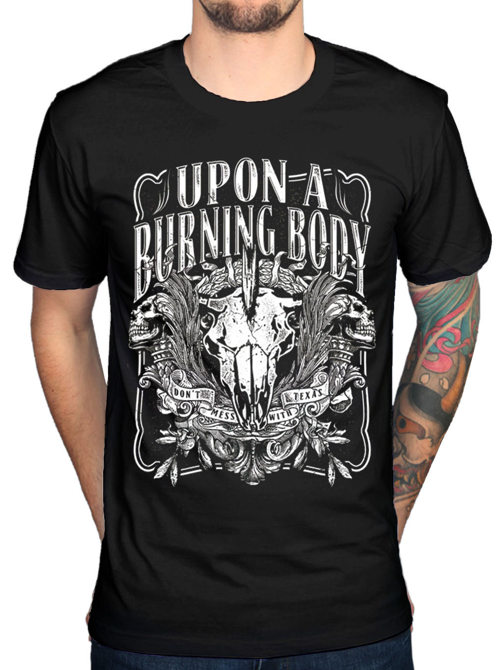 Official Upon A Burning Body Texas T-Shirt Red White Green Genocide The World