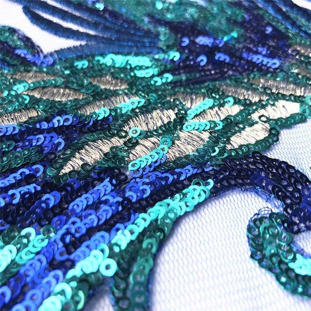 Pardessus en plume brodée à paillettes bleue | 40CM, pardessus en maille rêveuse, dentelle, pour Appliques de mariage, bricolage, parures pour robe de mariée