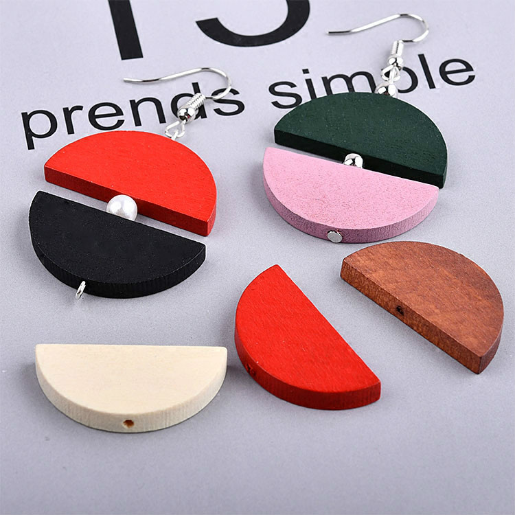 Retro Folk Style Earring  Earrings DIY Handmade Natural Wood Semi-circular Jewelry Materials