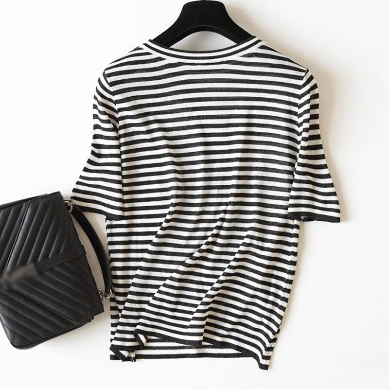 fashion women o neck basic black white striped print knit ...