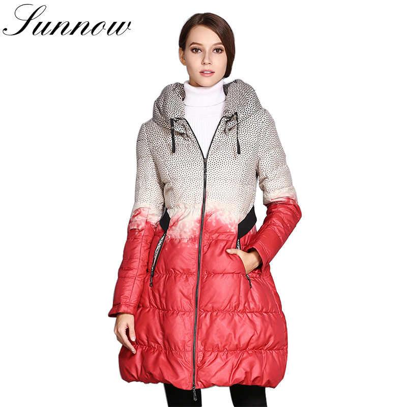 SUNNOW abrigo de invierno de las mujeres de la moda chaqueta Doble cuello  falda mujeres falda da2a45b27df0