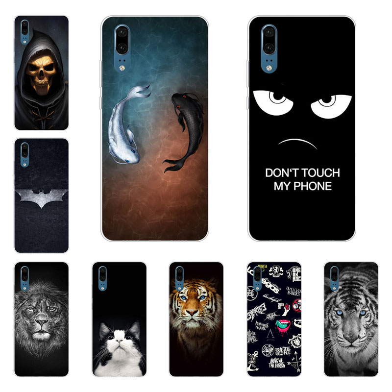 huawei p20 case,Silicon Gossip fish Painting Soft TPU Back Cover for huawei p20 protect Phone shell