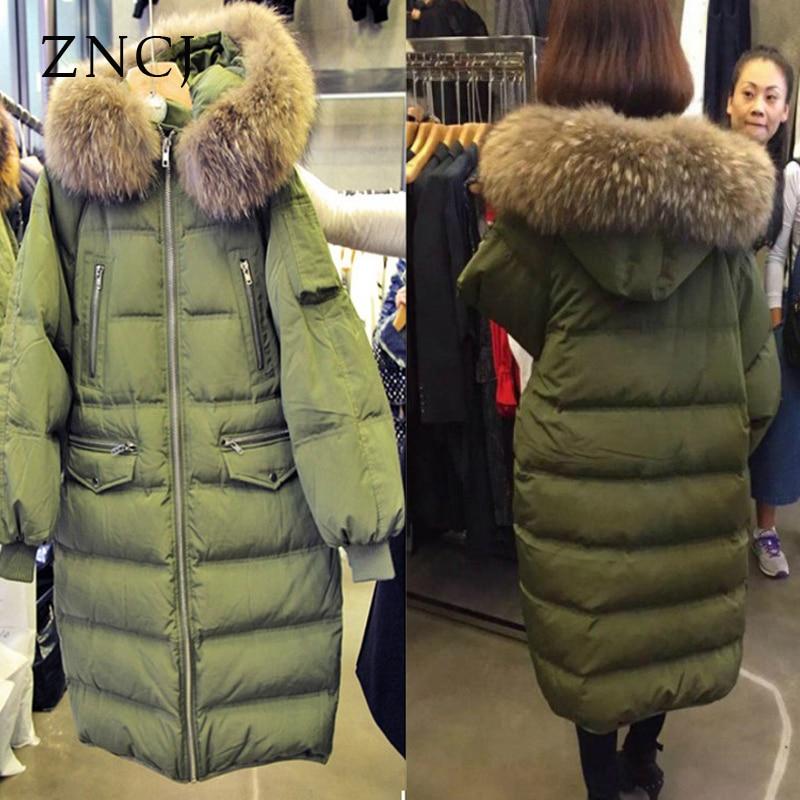 цена ZNCJ Winter Warm Women's Coat Womens Fashion Warm Korean Loose Knee Coat Big Size Long Jacket  Thick Fur Collar Overwear Down онлайн в 2017 году