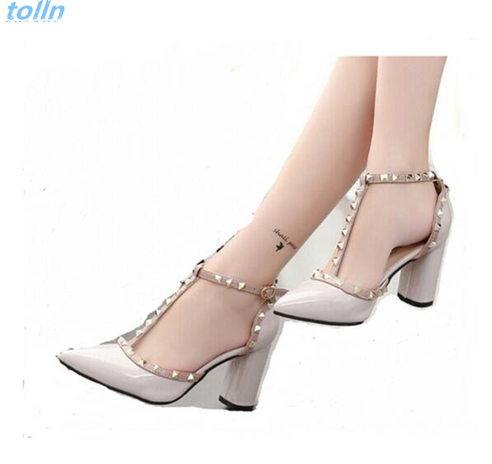 women High Heeled Shoes Fashion pointed Rivet shoes ...