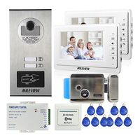Apartment 7 Color Video Door Phone Intercom System 2 Monitor RFID Access Door Camera 2 Buttons