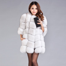 Luxury Lady Fashion Genuine Real Fox Fur Coat Jacket Winter Women's Fur Trench Outerwear Coats Clothing Cotton lining 1471