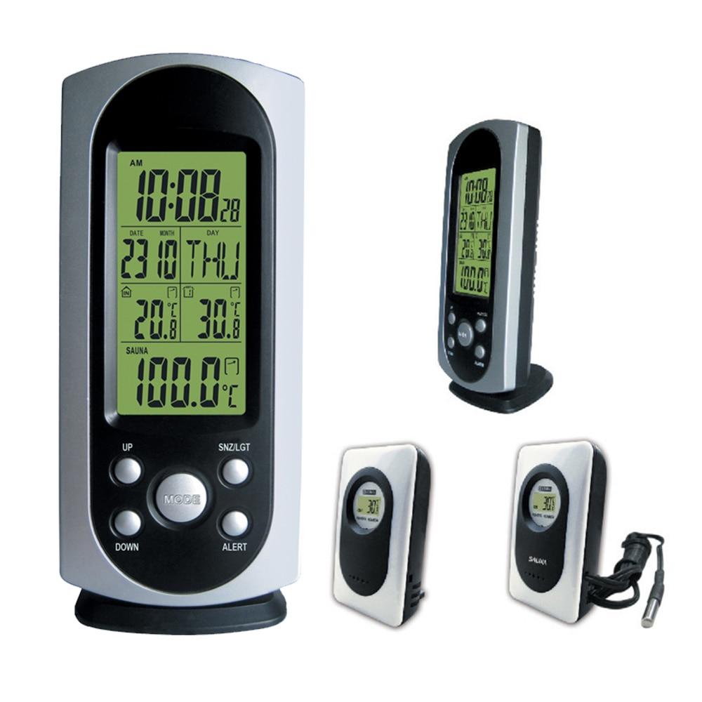 Wireless Weather Station with Indoor Ourdoor Sauna Thermometer Remote Sensor Digital Alarm Clock