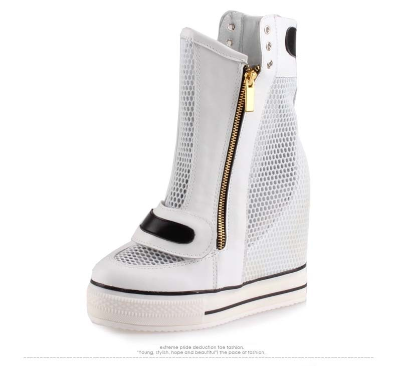 2017 fashion women high top breathable mesh zip hidden height increasing high heels woman white ladies casual shoes ankle boots