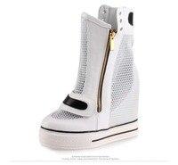 2017 moda kobiety kostkę oddychające oczek zip ukryte wysokość zwiększenie wysokie obcasy kobieta białe panie przypadkowi buty botki