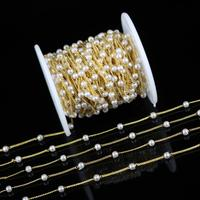 4mm,White Pearl Round Shaped Beading Chains,Wire Wrapped Golden Plated Copper Rosary Links Necklace Earrings