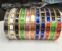 Brand Stainless Steel Rose Gold Cuff Bangle Speedometer H Bracelet Female Male Bijoux Open Love Bracelet