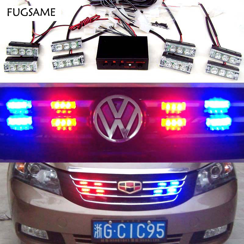 FUGSAME Car 8x3 LED Strobe Flash Warning EMS Police Light Firemen Emergency High Power8*3 Red Blue White  Amber Yellow hsp high brightness white red blue yellow light 12 led system for 1 10 1 8 r c car