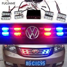 FREE SHIPPING  LED Fire Emergency Strobe Warning Lights  BLUE  3 Flashing Mode 8*3LED 3 mode blue light led flashing dog collar blue 2 x cr2016