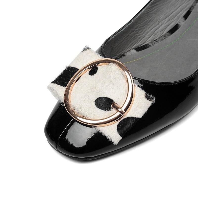 Bajo blanco Zapatos Gran Dama Genuino Cuadrados Cuero Tacones Mujer Mujeres De Tamaño Bombas 43 Negro Oficina Hebilla Fiesta Boda 7UREqOxw