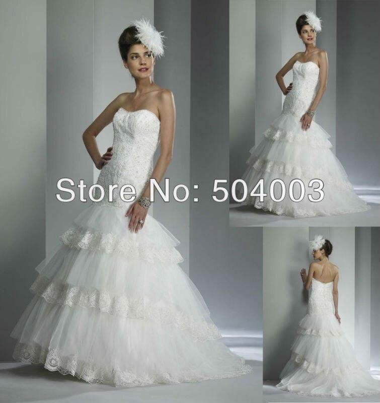 Free Shipping Lace Mermaid Wedding Dress Organza Layers