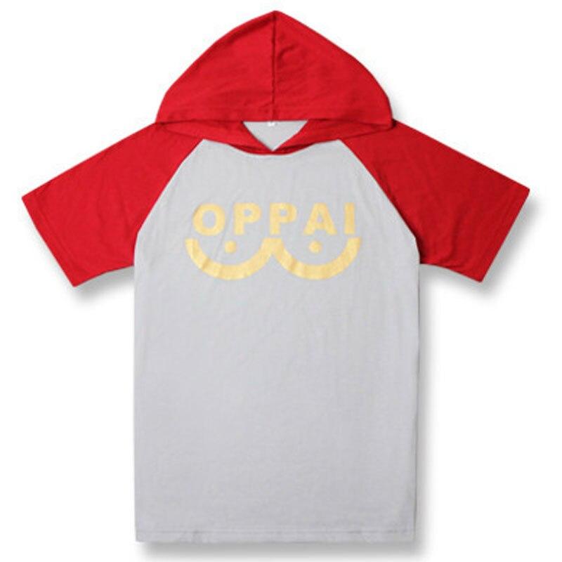 Womens Hoodies One Punch Man Saitama Oppai Hooded Sweatshirt Raglan Short Sleeve Jersey Hoodie Pocket Spring Tops Autumn Coat