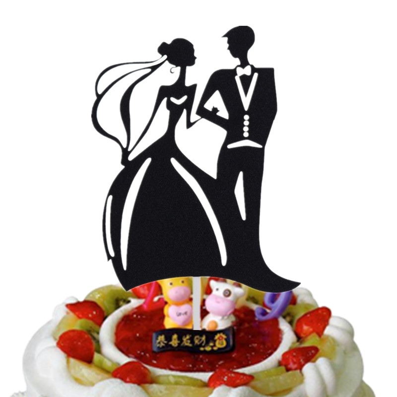 Romantic Wedding Cake Flags Mr & Mrs Topper Black Color Bride Groom Party Baking Decor Engagement