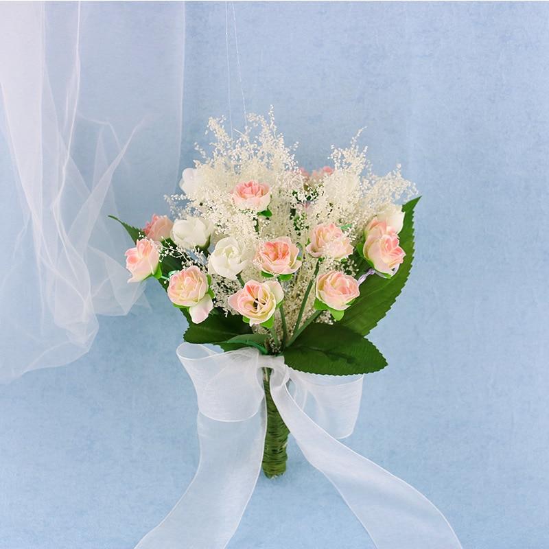 White Wedding Bouquet Bridesmaid Accessories Fake Flower Wedding Bouquets Bridal Pink Flower Hand Bouquet Big Green Leaf Flowers