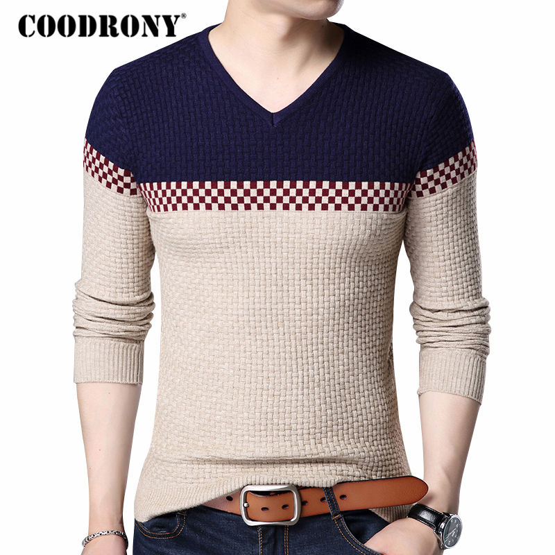 Coodrony Autumn Winter Warm Wool Sweaters Casual Hit Color  Patchwork V-neck Pullover Men Brand Slim Fit Cotton Sweater 155 #1