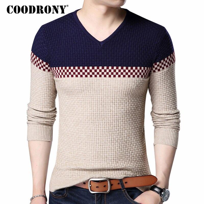 COODRONY 2018 otoño invierno cálido suéteres de lana Casual Color Patchwork con cuello en V suéter hombres marca Slim Fit suéter de algodón 155
