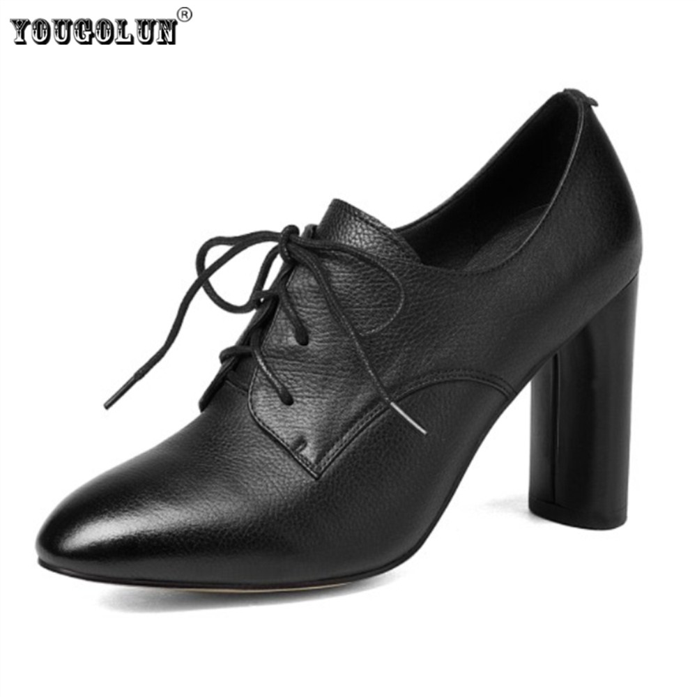 YOUGOLUN woman cow genuine leather high heels pumps women pointed toe lace up shoes women's elegant autumn winter work pumps pearl high heels shoes thick green women strange suede abnormal catwalk genuine leather pointed toe strap mary jane lace up