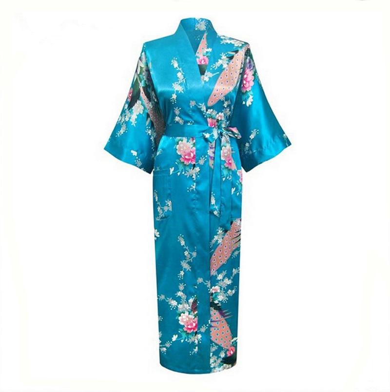 df13a44b00 Blue Sexy Chinese Women Satin Kimono Robes Summer Lounge Sleepwear V-Neck  Floral Nightgown pijama Plus Size S To XXXL NR062