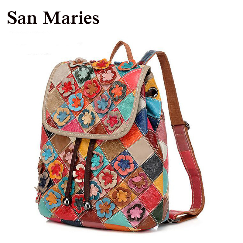 San Maries Flower Floral Backpacks Women's Leather Backpack Fashion Ladies Schoolbag For Teenagers Girls Female
