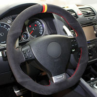 leather hand Top Leather Steering Wheel Hand-stitch on Wrap Cover For Volkswagen Golf 5 Mk5 Golf 5 R32 (3)