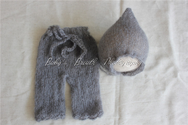 bd8ae66650b Knit Baby Pants and Hat Newborn Photo Prop Set Luxury Mohair Bonnet and Pants  Baby Photography Prop