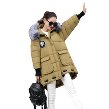 New 2016 Winter Down Jacket Women's Plus Size Loose Parkas Fur Collar Hooded Coat Woman Military Equipment Long Cotton Outwear