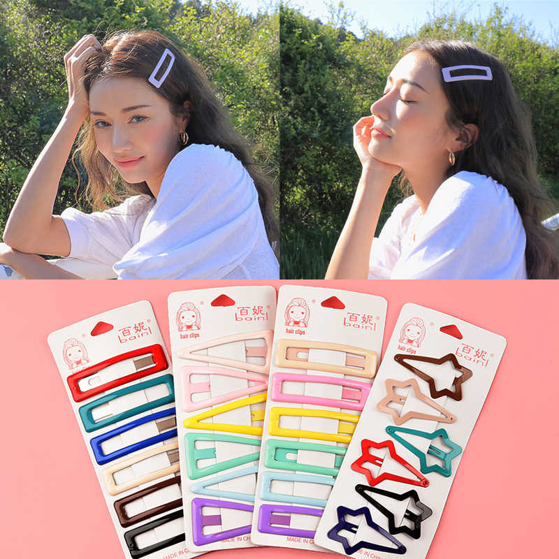 MISM 6pcs/lot Girls Cute Candy Color BB Clip Hairpins Women Headwear Hair Accessories Barrettes Pentagram drop Fashon Hairgrips